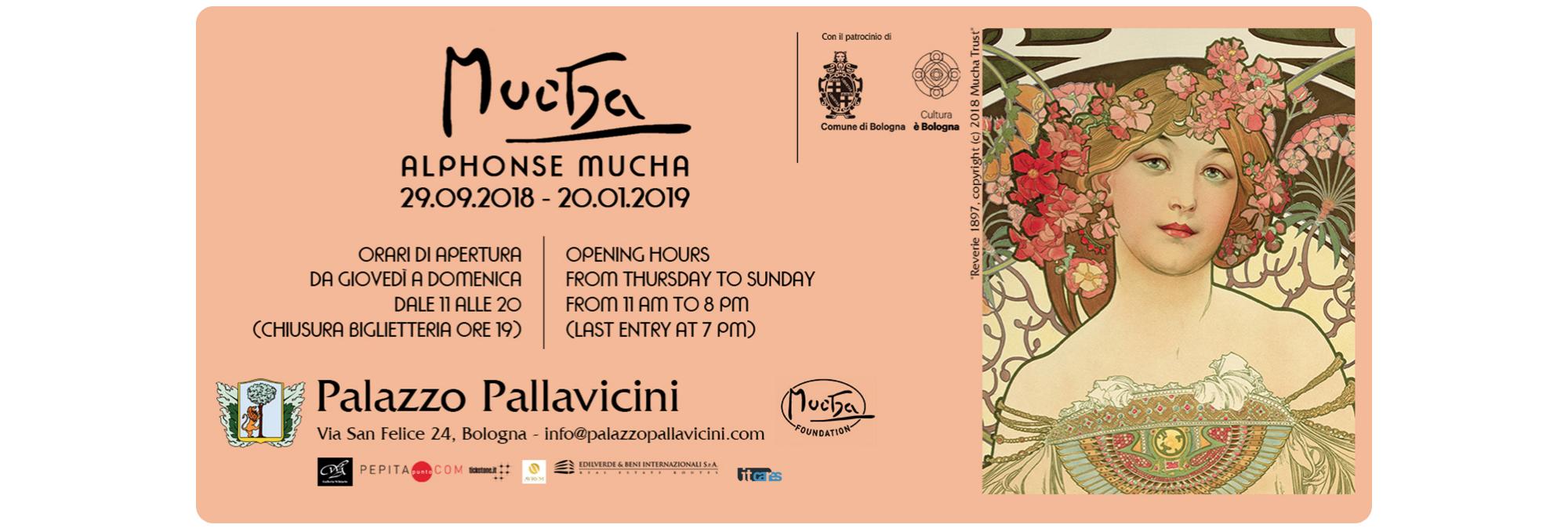 Banner della mostra Alphonse Mucha